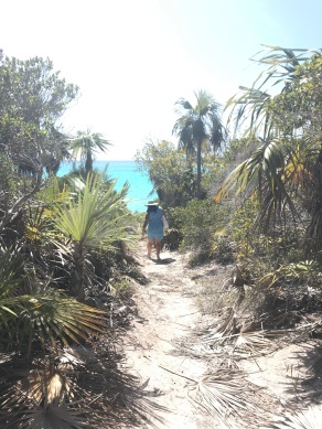 Walking to the beach by Preacher's Cave